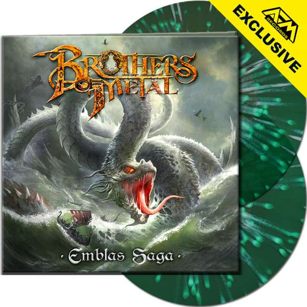 BROTHERS OF METAL - Emblas Saga - Ltd.Gtf.CLEAR GREEN/WHITE SPLATTER 2-LP - Shop Exclusive !